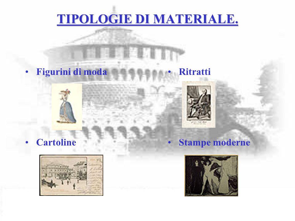 TIPOLOGIE DI MATERIALE. Figurini di moda Cartoline Ritratti Stampe moderne
