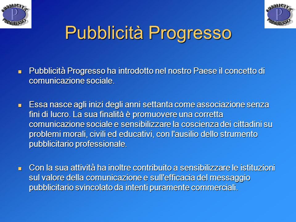 Pubblicità Progresso Pubblicit à Progresso ha introdotto nel nostro Paese il concetto di comunicazione sociale. Pubblicit à Progresso ha introdotto ne