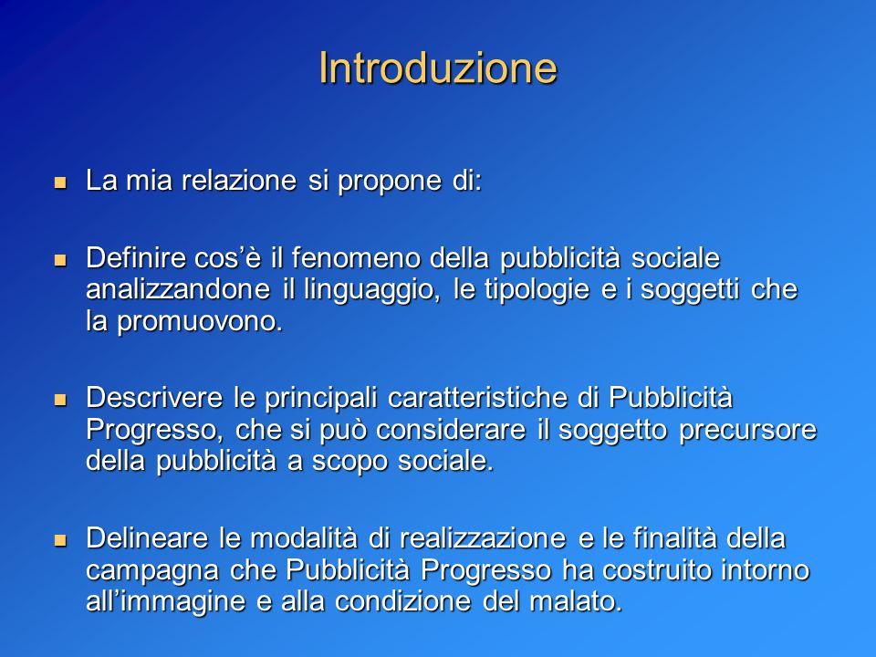 Introduzione La mia relazione si propone di: La mia relazione si propone di: Definire cosè il fenomeno della pubblicità sociale analizzandone il lingu