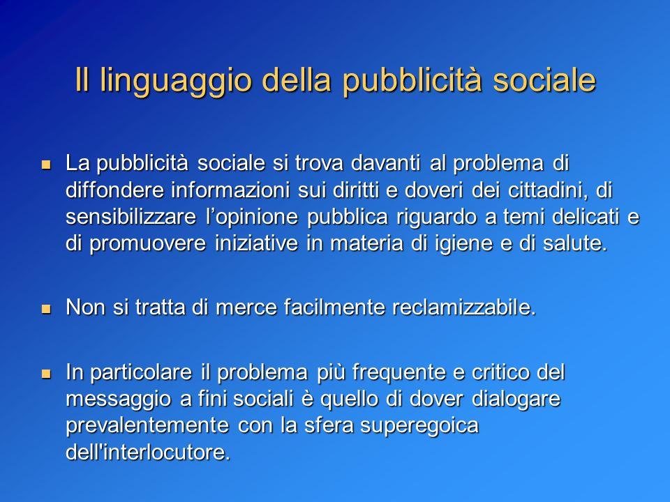 Il linguaggio della pubblicità sociale La pubblicità sociale si trova davanti al problema di diffondere informazioni sui diritti e doveri dei cittadin