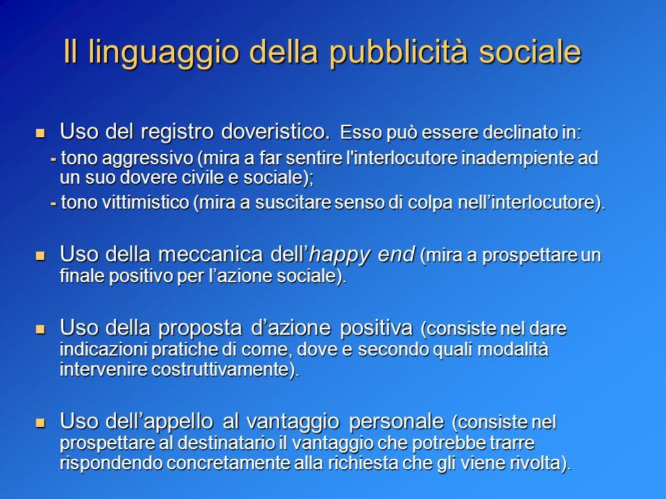 Il linguaggio della pubblicità sociale Uso del registro doveristico. Esso può essere declinato in: Uso del registro doveristico. Esso può essere decli