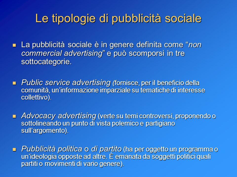 Le tipologie di pubblicità sociale La pubblicità sociale è in genere definita come non commercial advertising e può scomporsi in tre sottocategorie. L