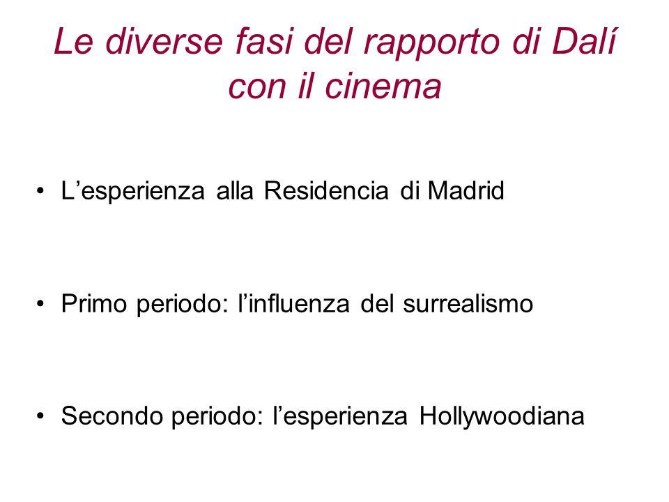 Le diverse fasi del rapporto di Dalí con il cinema Lesperienza alla Residencia di Madrid Primo periodo: linfluenza del surrealismo Secondo periodo: le