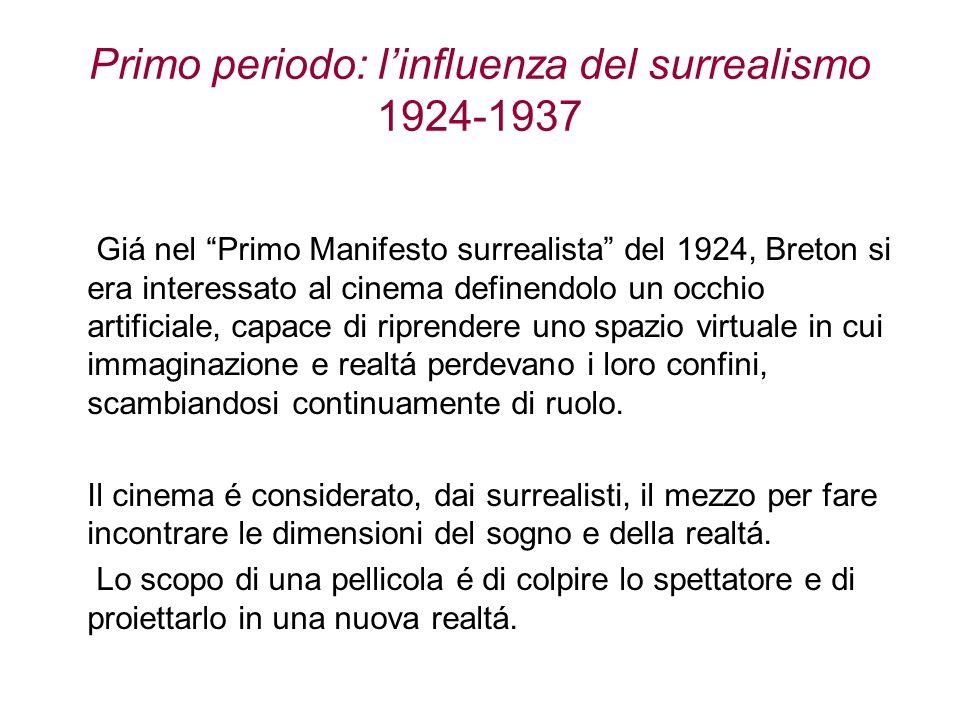 Primo periodo: linfluenza del surrealismo 1924-1937 Giá nel Primo Manifesto surrealista del 1924, Breton si era interessato al cinema definendolo un o
