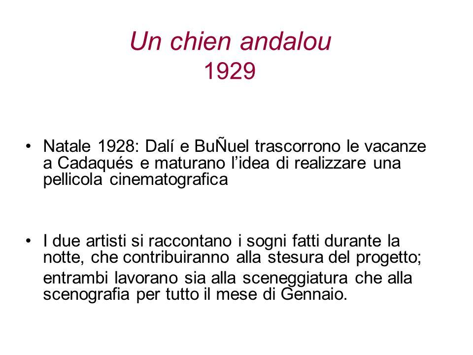 Un chien andalou 1929 Natale 1928: Dalí e BuÑuel trascorrono le vacanze a Cadaqués e maturano lidea di realizzare una pellicola cinematografica I due
