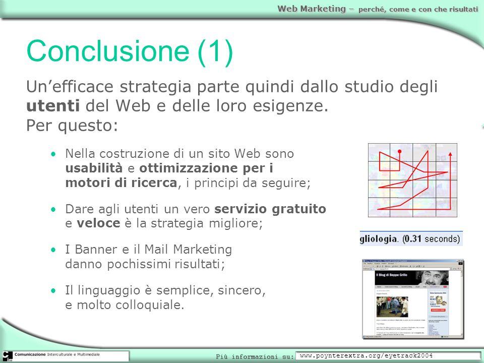 Web Marketing – perché, come e con che risultati Conclusione (1) Unefficace strategia parte quindi dallo studio degli utenti del Web e delle loro esig
