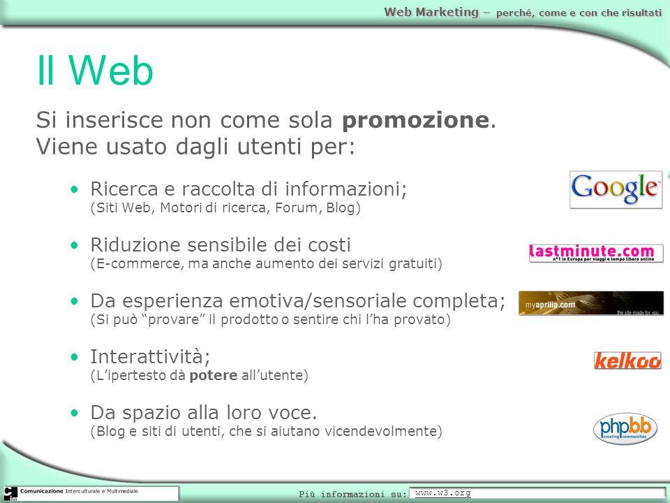 Web Marketing – perché, come e con che risultati Il Web Si inserisce non come sola promozione. Viene usato dagli utenti per: Ricerca e raccolta di inf