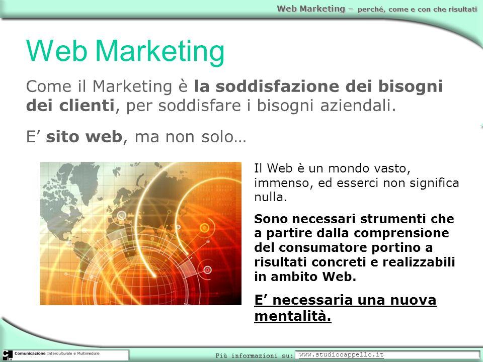 Web Marketing – perché, come e con che risultati Web Marketing Come il Marketing è la soddisfazione dei bisogni dei clienti, per soddisfare i bisogni