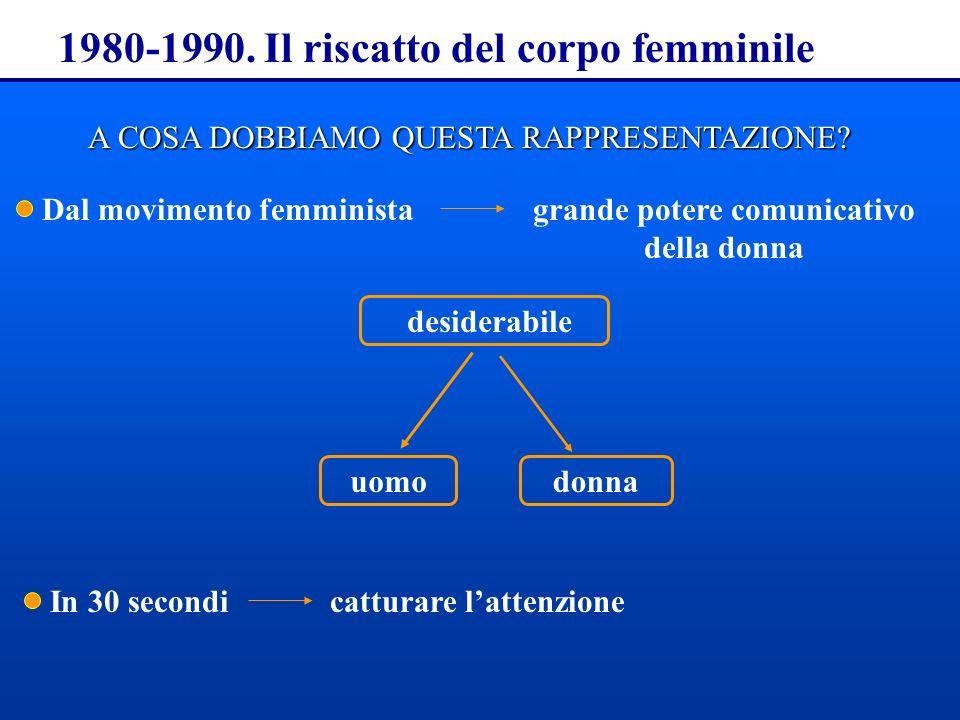 1980-1990. Il riscatto del corpo femminile A COSA DOBBIAMO QUESTA RAPPRESENTAZIONE? In 30 secondicatturare lattenzione Dal movimento femministagrande