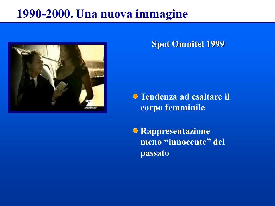 1990-2000. Una nuova immagine SpotOmnitel 1999 Spot Omnitel 1999 Tendenza ad esaltare il corpo femminile Rappresentazione meno innocente del passato