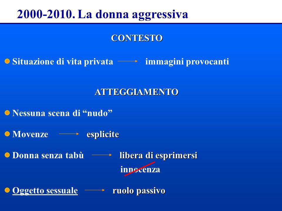2000-2010. La donna aggressiva CONTESTO Situazione di vita privataimmagini provocantiATTEGGIAMENTO Movenze Nessuna scena di nudo esplicite Donna senza