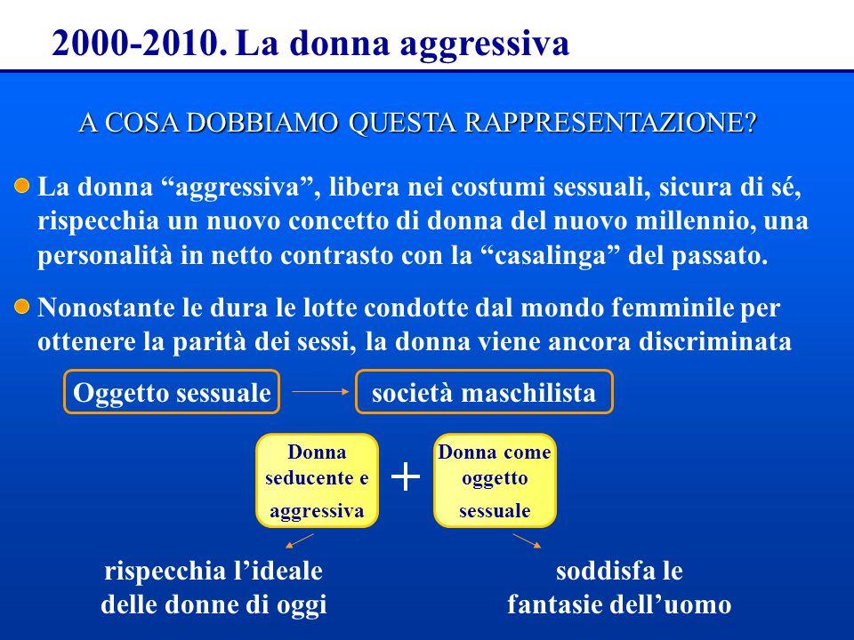 2000-2010. La donna aggressiva A COSA DOBBIAMO QUESTA RAPPRESENTAZIONE? La donna aggressiva, libera nei costumi sessuali, sicura di sé, rispecchia un