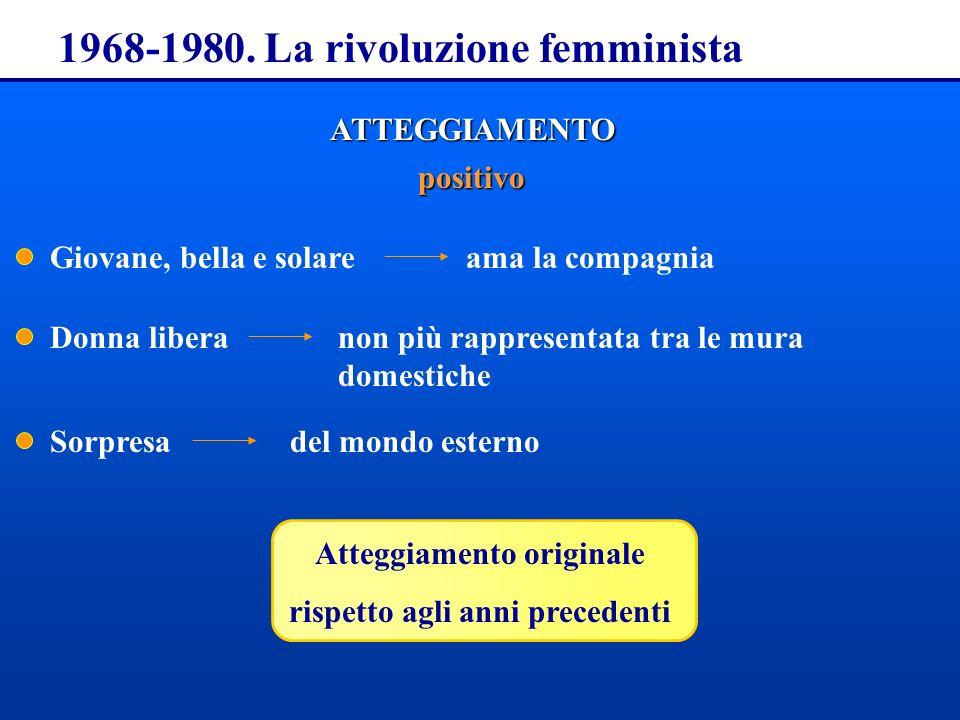 1968-1980. La rivoluzione femminista ATTEGGIAMENTO positivo Giovane, bella e solare Donna libera Sorpresa ama la compagnia non più rappresentata tra l