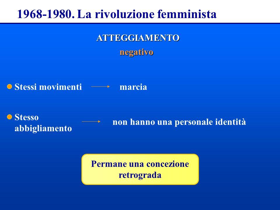 1968-1980. La rivoluzione femminista ATTEGGIAMENTO negativo Stessi movimenti Stesso abbigliamento marcia non hanno una personale identità Permane una