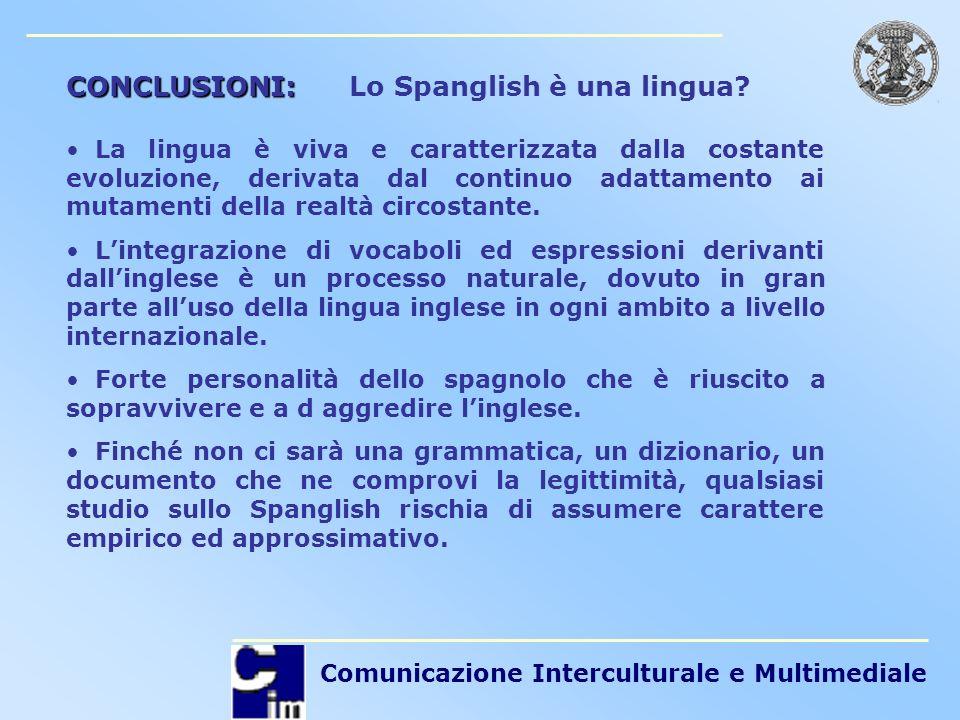 Comunicazione Interculturale e Multimediale CONCLUSIONI: CONCLUSIONI: Lo Spanglish è una lingua? La lingua è viva e caratterizzata dalla costante evol