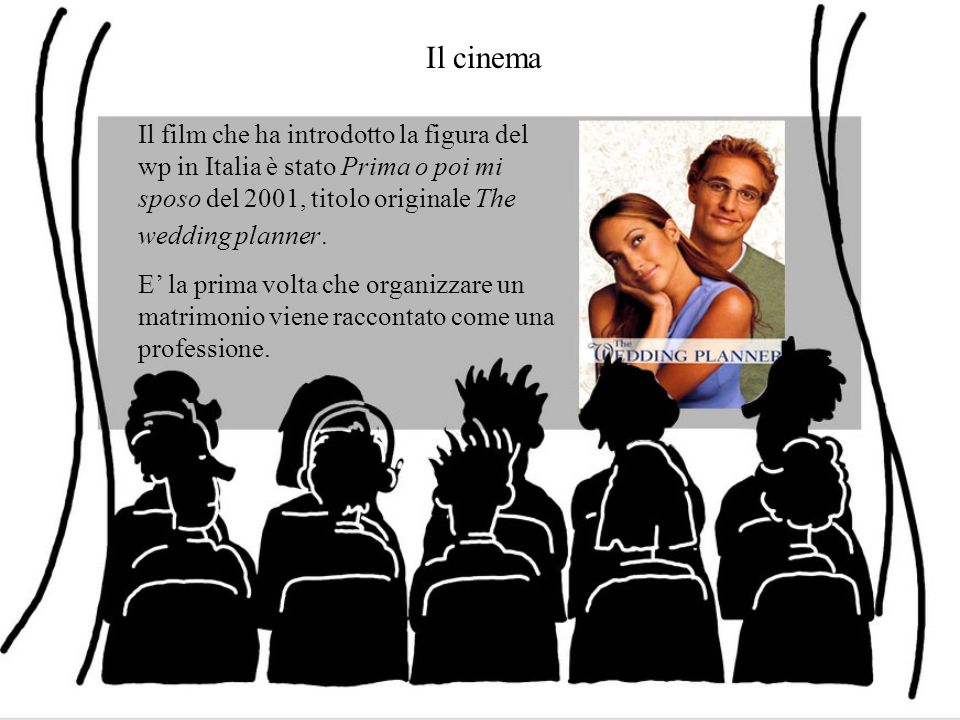 Il cinema Il film che ha introdotto la figura del wp in Italia è stato Prima o poi mi sposo del 2001, titolo originale The wedding planner. E la prima