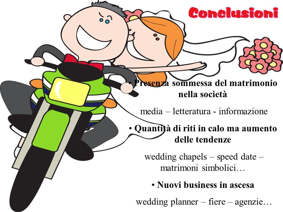 Presenza sommessa del matrimonio nella società media – letteratura - informazione Quantità di riti in calo ma aumento delle tendenze wedding chapels –