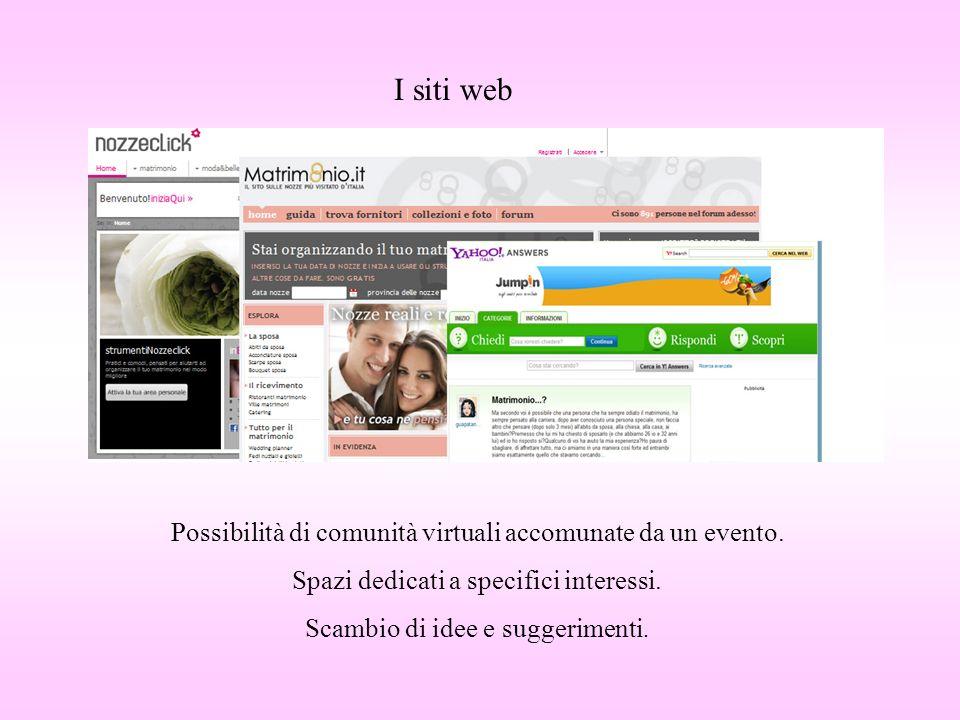 I siti web Possibilità di comunità virtuali accomunate da un evento. Spazi dedicati a specifici interessi. Scambio di idee e suggerimenti.