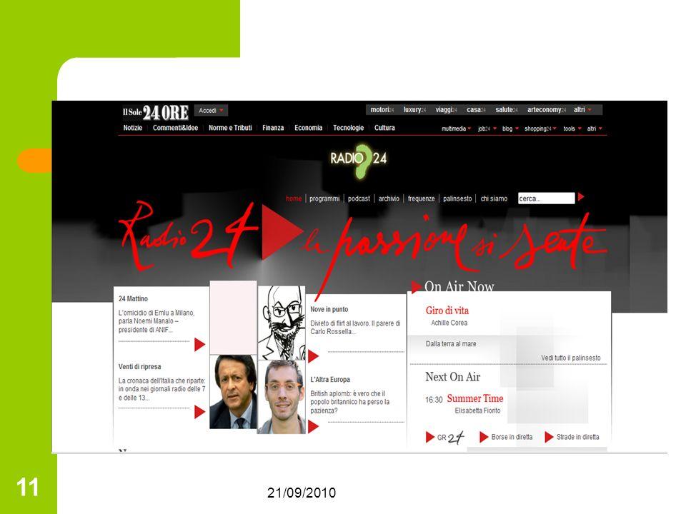 21/09/2010 11 Linterazione con il pubblico Dialogo e partecipazione Canali di comunicazione verso lesterno: - centralino per riceve informazioni o intervenire in diretta - www.radio24.ilsole24ore.com per informarsi in modo autonomo o comunicare con conduttori e redattori www.radio24.ilsole24ore.com
