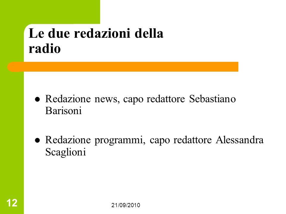 21/09/2010 12 Le due redazioni della radio Redazione news, capo redattore Sebastiano Barisoni Redazione programmi, capo redattore Alessandra Scaglioni