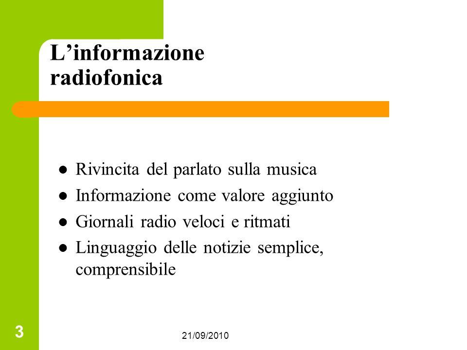 21/09/2010 3 Linformazione radiofonica Rivincita del parlato sulla musica Informazione come valore aggiunto Giornali radio veloci e ritmati Linguaggio delle notizie semplice, comprensibile