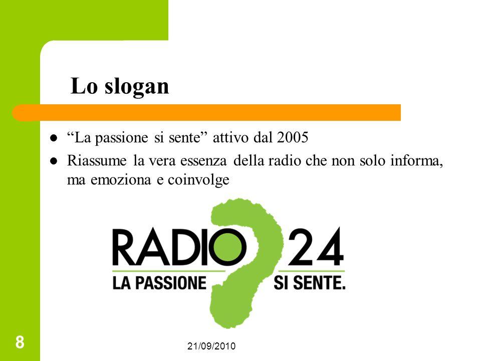 21/09/2010 8 Lo slogan La passione si sente attivo dal 2005 Riassume la vera essenza della radio che non solo informa, ma emoziona e coinvolge