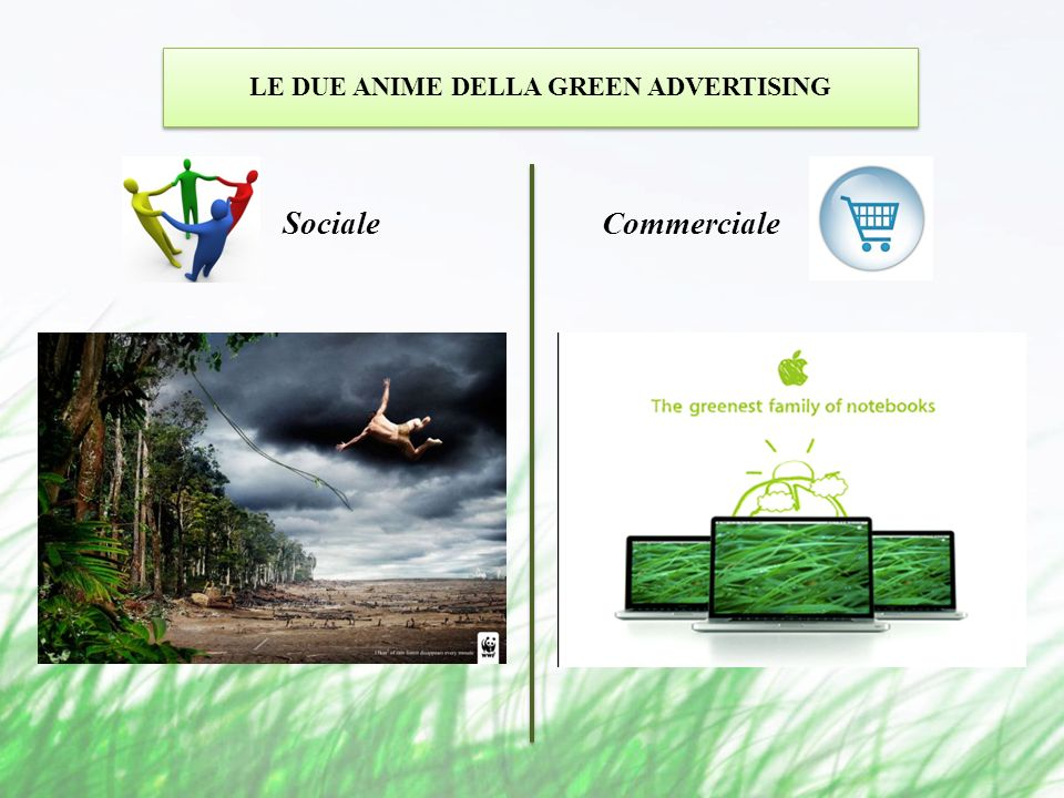 LE DUE ANIME DELLA GREEN ADVERTISING Sociale Commerciale