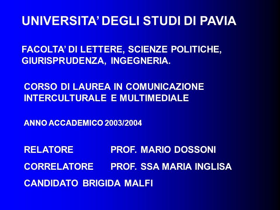 UNIVERSITA DEGLI STUDI DI PAVIA FACOLTA DI LETTERE, SCIENZE POLITICHE, GIURISPRUDENZA, INGEGNERIA. CORSO DI LAUREA IN COMUNICAZIONE INTERCULTURALE E M