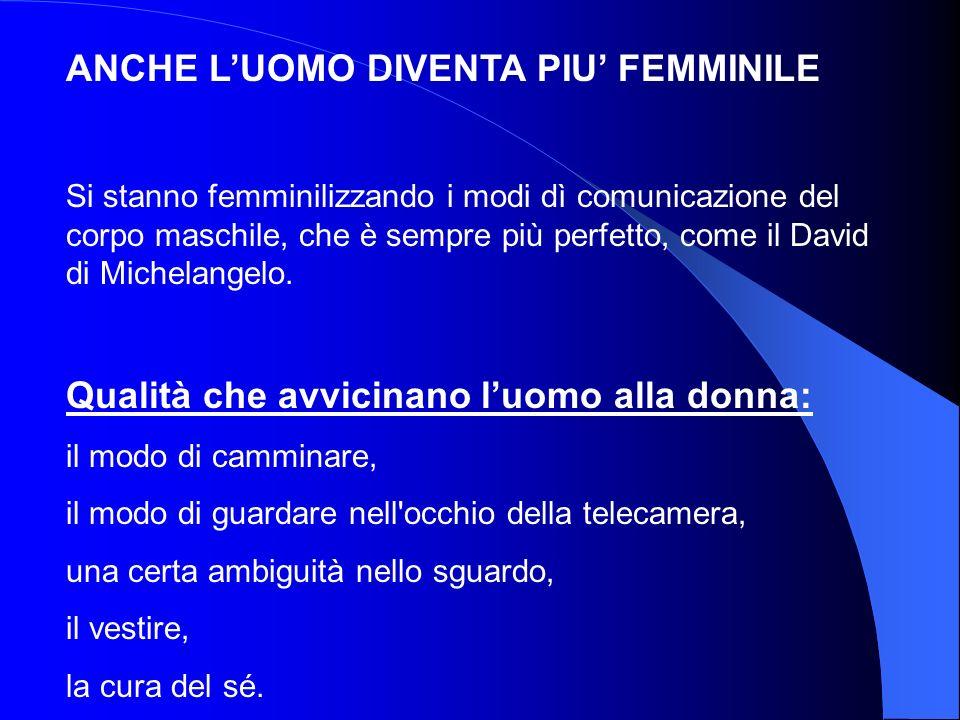 ANCHE LUOMO DIVENTA PIU FEMMINILE Si stanno femminilizzando i modi dì comunicazione del corpo maschile, che è sempre più perfetto, come il David di Mi
