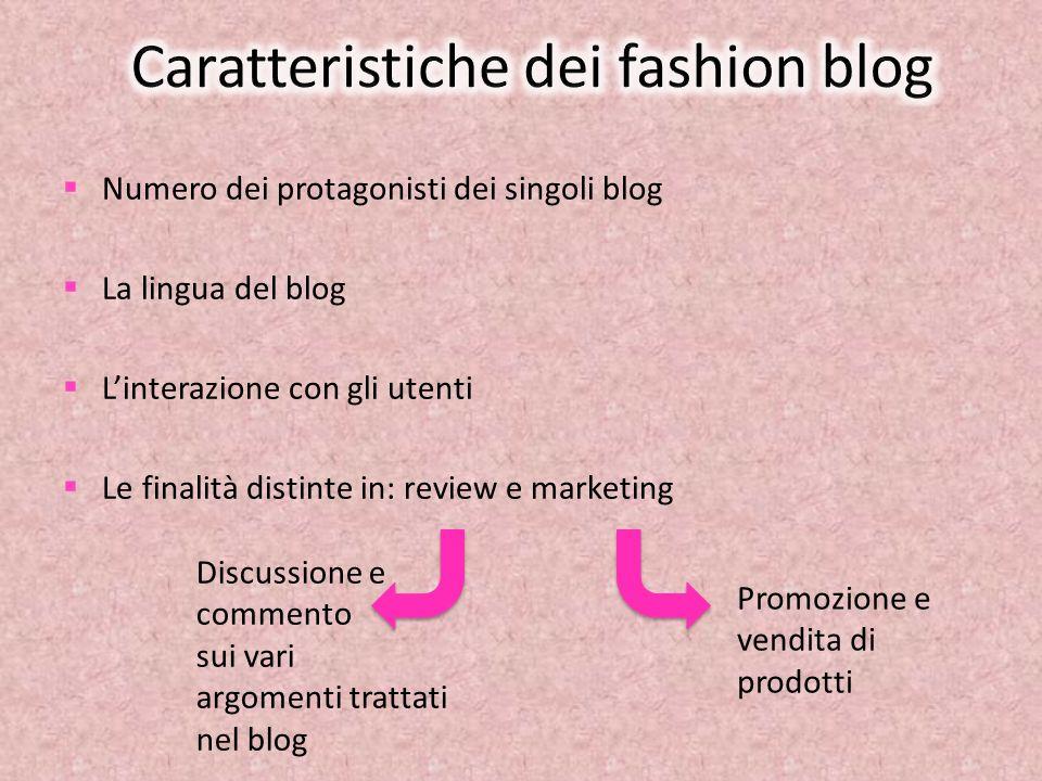 Numero dei protagonisti dei singoli blog La lingua del blog Linterazione con gli utenti Le finalità distinte in: review e marketing Discussione e comm