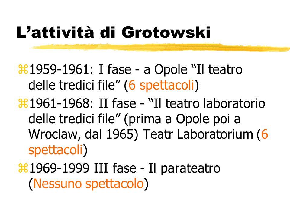 Lattività di Grotowski z1959-1961: I fase - a Opole Il teatro delle tredici file (6 spettacoli) z1961-1968: II fase - Il teatro laboratorio delle tred
