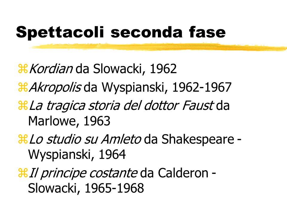 Spettacoli seconda fase zKordian da Slowacki, 1962 zAkropolis da Wyspianski, 1962-1967 zLa tragica storia del dottor Faust da Marlowe, 1963 zLo studio su Amleto da Shakespeare - Wyspianski, 1964 zIl principe costante da Calderon - Slowacki, 1965-1968