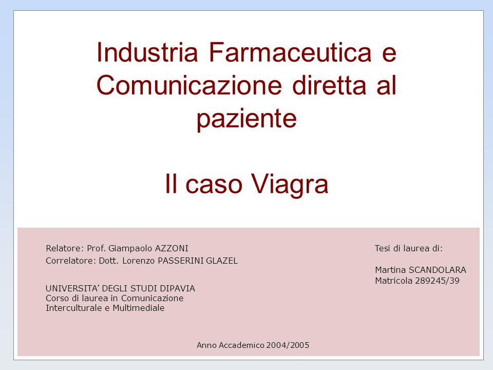 Industria Farmaceutica e Comunicazione diretta al paziente Il caso Viagra Anno Accademico 2004/2005 Tesi di laurea di: Martina SCANDOLARA Matricola 28