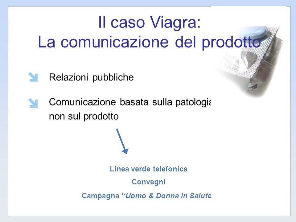 Relazioni pubbliche Comunicazione basata sulla patologia, non sul prodotto Linea verde telefonica Convegni Campagna Uomo & Donna in Salute Il caso Via