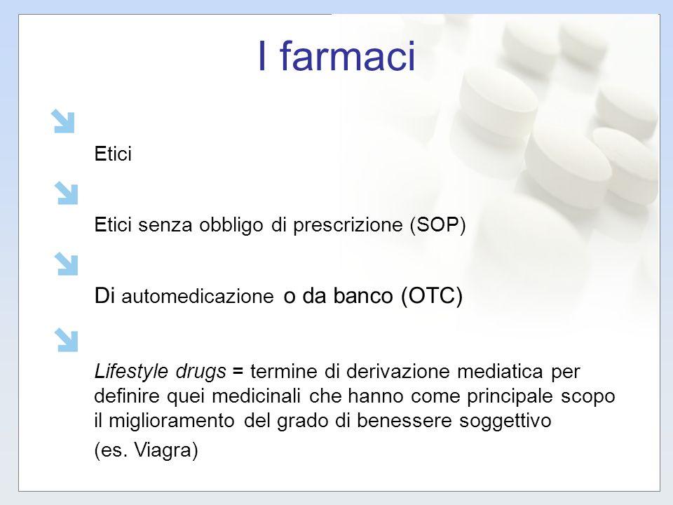I farmaci Etici Etici senza obbligo di prescrizione (SOP) Di automedicazione o da banco (OTC) Lifestyle drugs = termine di derivazione mediatica per d