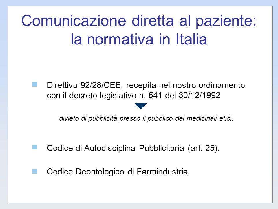 Comunicazione diretta al paziente: la normativa in Italia Direttiva 92/28/CEE, recepita nel nostro ordinamento con il decreto legislativo n. 541 del 3