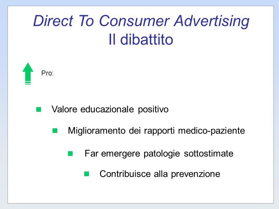 Direct To Consumer Advertising Il dibattito Valore educazionale positivo Miglioramento dei rapporti medico-paziente Far emergere patologie sottostimat