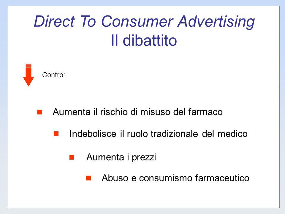 Direct To Consumer Advertising Il dibattito Aumenta il rischio di misuso del farmaco Indebolisce il ruolo tradizionale del medico Aumenta i prezzi Abu