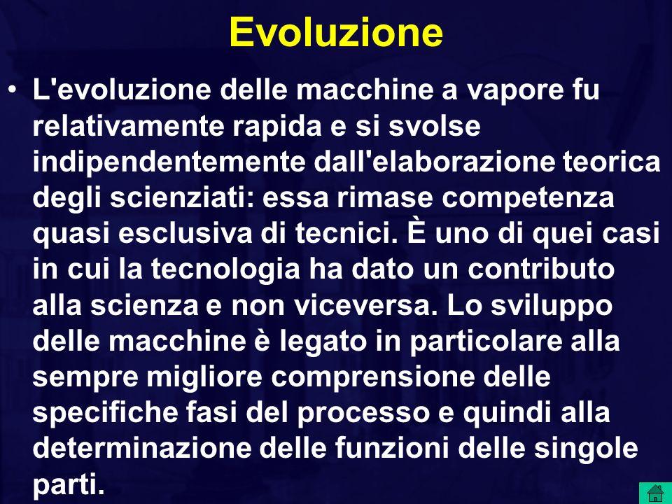 Evoluzione L'evoluzione delle macchine a vapore fu relativamente rapida e si svolse indipendentemente dall'elaborazione teorica degli scienziati: essa