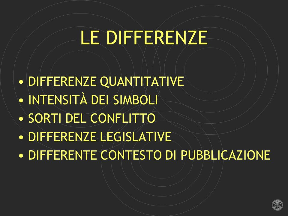 LE DIFFERENZE DIFFERENZE QUANTITATIVE INTENSITÀ DEI SIMBOLI SORTI DEL CONFLITTO DIFFERENZE LEGISLATIVE DIFFERENTE CONTESTO DI PUBBLICAZIONE
