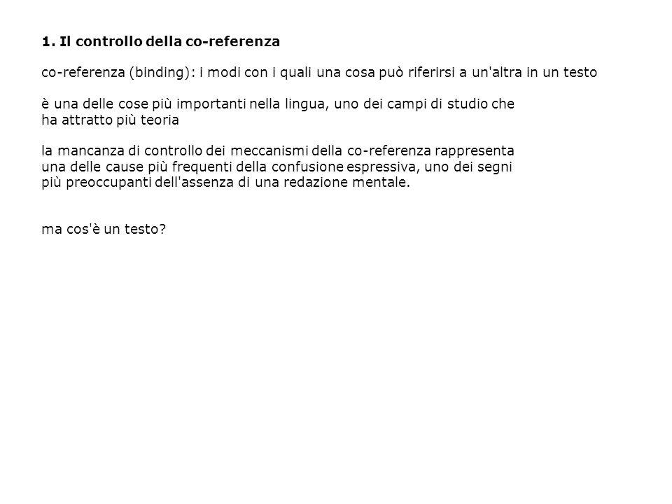 2.Il controllo della co-referenza a.