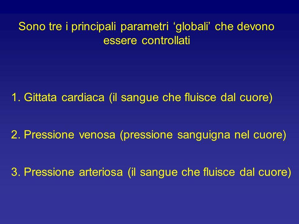 Sono tre i principali parametri globali che devono essere controllati 1. Gittata cardiaca (il sangue che fluisce dal cuore) 2. Pressione venosa (press