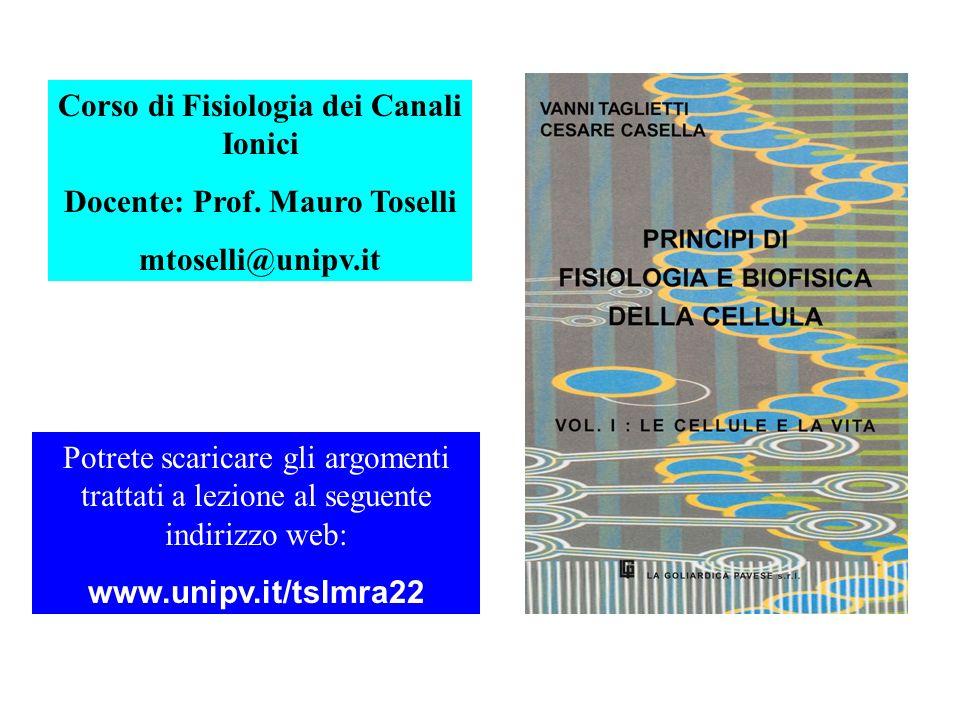 Corso di Fisiologia dei Canali Ionici Docente: Prof.