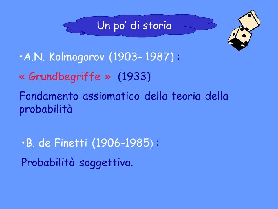 A.N. Kolmogorov (1903- 1987) : « Grundbegriffe » (1933) Fondamento assiomatico della teoria della probabilità B. de Finetti (1906-1985 ) : Probabilità