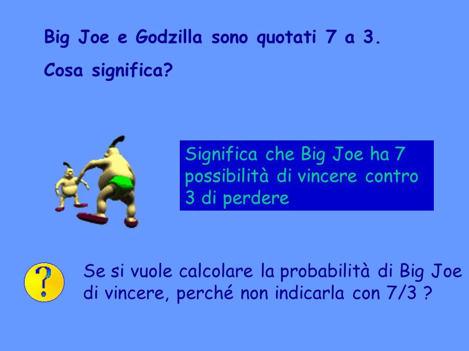 Big Joe e Godzilla sono quotati 7 a 3. Cosa significa? Significa che Big Joe ha 7 possibilità di vincere contro 3 di perdere Se si vuole calcolare la