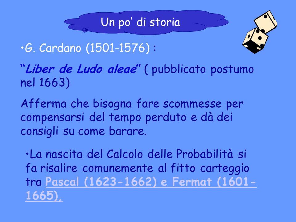 G. Cardano (1501-1576) : Liber de Ludo aleae ( pubblicato postumo nel 1663) Afferma che bisogna fare scommesse per compensarsi del tempo perduto e dà