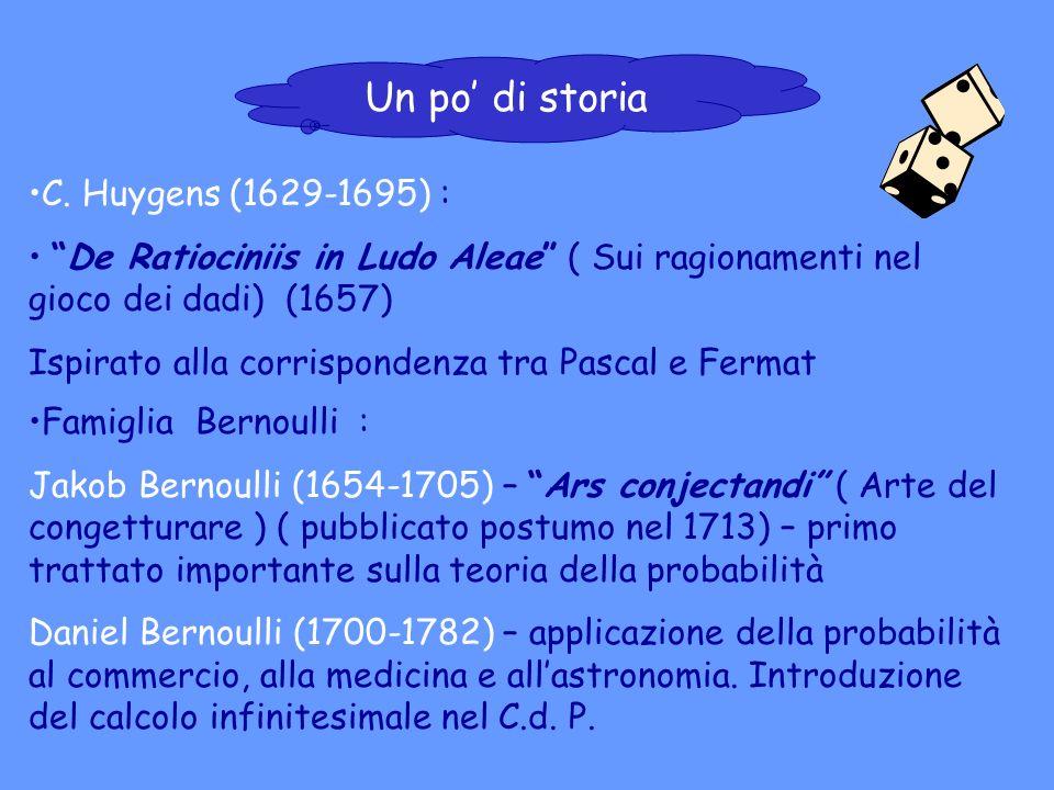 C. Huygens (1629-1695) : De Ratiociniis in Ludo Aleae ( Sui ragionamenti nel gioco dei dadi) (1657) Ispirato alla corrispondenza tra Pascal e Fermat F