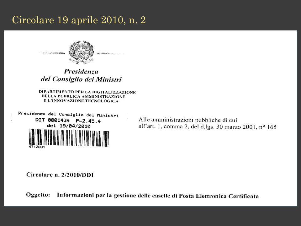 Circolare 19 aprile 2010, n. 2