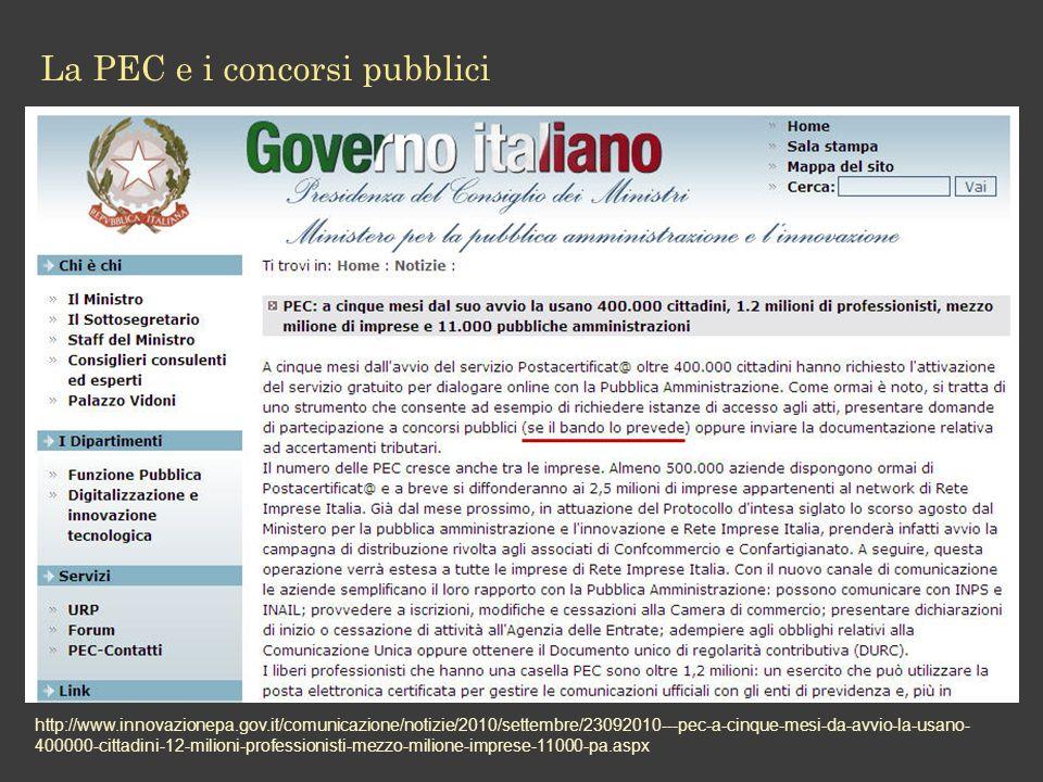 La PEC e i concorsi pubblici http://www.innovazionepa.gov.it/comunicazione/notizie/2010/settembre/23092010---pec-a-cinque-mesi-da-avvio-la-usano- 400000-cittadini-12-milioni-professionisti-mezzo-milione-imprese-11000-pa.aspx