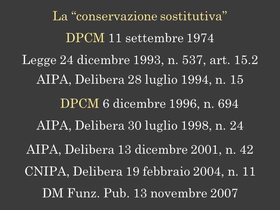 La conservazione sostitutiva Legge 24 dicembre 1993, n.